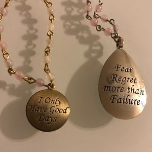 2 rosary chain positive message necklaces crystals